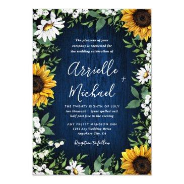 navy blue sunflower rustic wedding invitationss