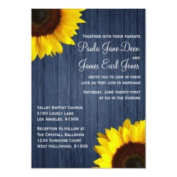 Small Navy Blue & Sunflower Wedding Invitation Front View
