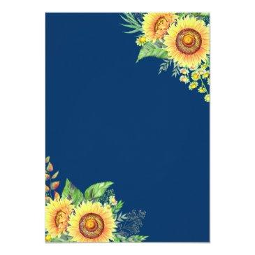 Small Navy Blue Sunflowers Rustic Romantic Wedding Back View