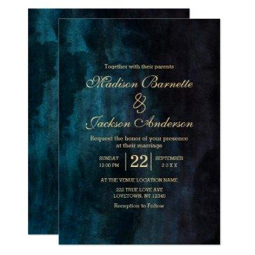 navy blue teal watercolor gold wedding