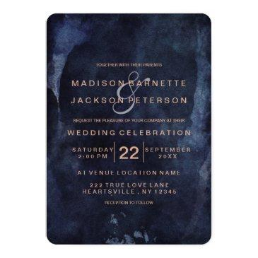 navy blue watercolor rose gold wedding