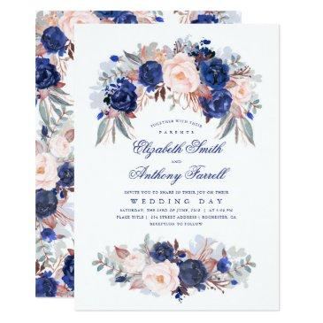 navy blue watercolors - floral elegant wedding