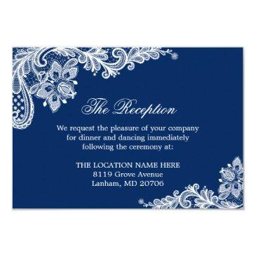 navy blue white lace wedding information details