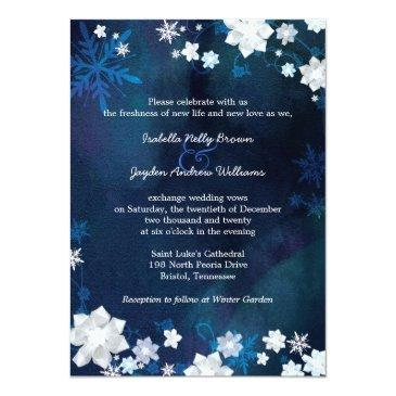 Small Navy Blue Winter Bohemian Wedding Invitation Front View