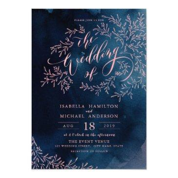 navy blush calligraphy rustic floral wedding invitations