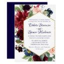 navy burgundy floral | rustic boho chic wedding invitations