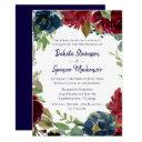 navy floral | rustic boho burgundy wreath wedding invitations