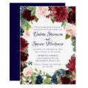 navy floral | rustic burgundy boho chic wedding invitations