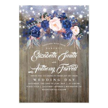 navy floral rustic string lights wedding invitations