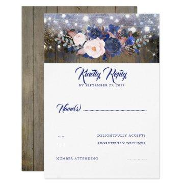 navy florals rustic wedding rsvp