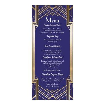 navy gatsby menu wedding reception 1920's art deco