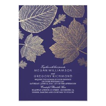 Navy Gold Leaves Vintage Fall Wedding