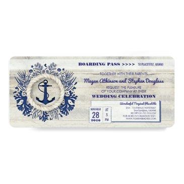 Small Navy Nautical Anchor Boarding Pass Wedding Ticket Invitation Front View