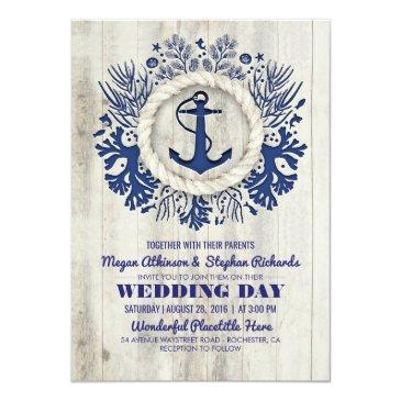 Small Navy Nautical Anchor Rustic Beach Wedding Front View