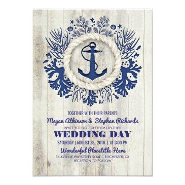 navy nautical anchor rustic beach wedding invitation