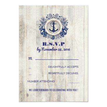 Small Navy Nautical Rustic Beach Wedding Rsvp Front View
