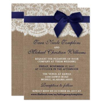navy ribbon on burlap & lace wedding