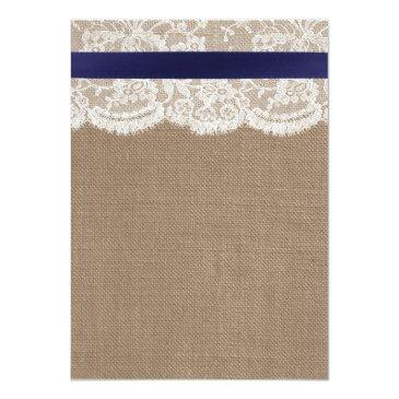 Small Navy Ribbon On Burlap & Lace Wedding Invitationss Back View