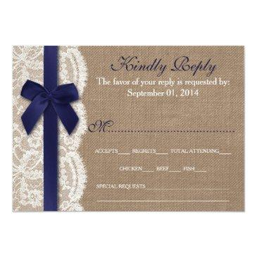 Small Navy Ribbon On Burlap & Lace Wedding Rsvp Invitationss Front View