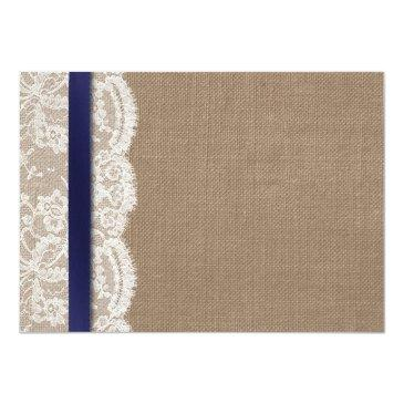 Small Navy Ribbon On Burlap & Lace Wedding Rsvp Invitationss Back View