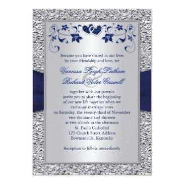 Small Navy Silver Floral Hearts Faux Foil Wedding Invite Back View