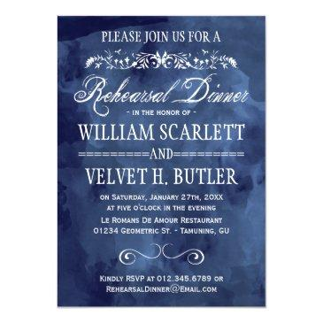 Small Navy Watercolor Bohemian Rehearsal Dinner Invitation Front View