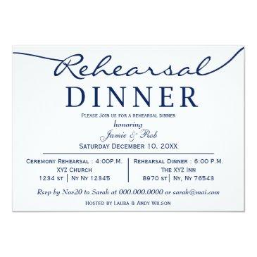 Small Navy White Elegant Script Rehearsal Dinner Invite Front View