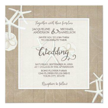 ocean beach wedding starfish wood damask rustic