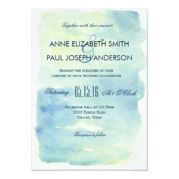 Small Ocean Watercolor Wedding Invitations Front View