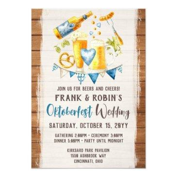 Small Oktoberfest Wedding Rustic Bavarian Beer Party Invitation Front View