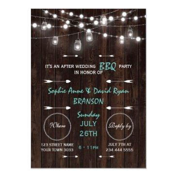 old barn mason jars lights after wedding bbq party invitation