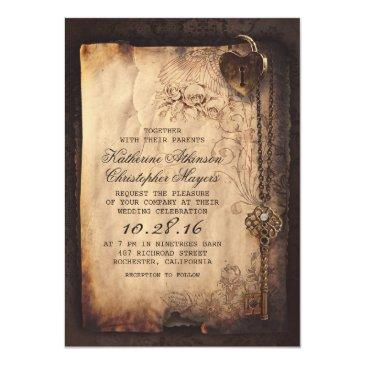 old skeleton key vintage and gothic wedding invitations