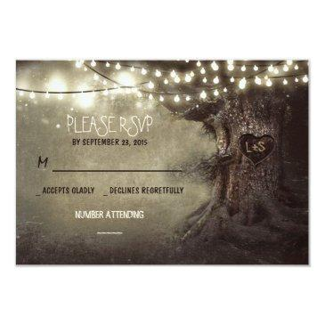 old tree string lights rustic wedding rsvp