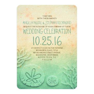 ombre beach wedding invitationss - blush teal color
