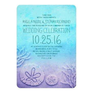 Small Ombre Beach Wedding Invitationss - Turquoise Blue Front View