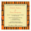 orange and black african tribal pattern wedding invitations