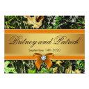 orange hunting themed camo wedding invitationss