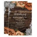 orange spice floral roses rustic wood lace wedding invitation