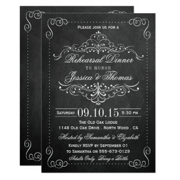 ornate swirl chalkboard wedding rehearsal dinner