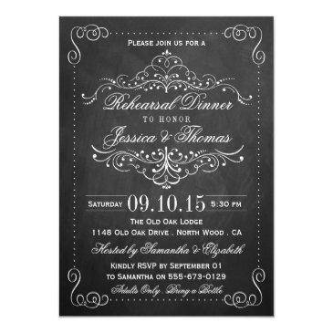 Small Ornate Swirl Chalkboard Wedding Rehearsal Dinner Front View