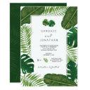 painted tropical leaves beach wedding invitation