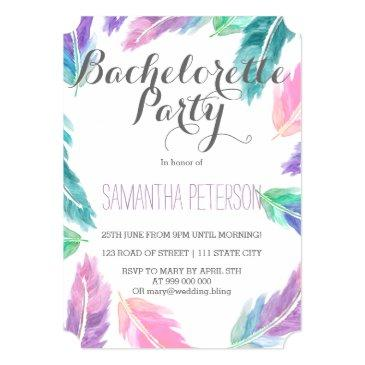 Small Painted Watercolor Feathers Bachelorette Party Invitation Front View