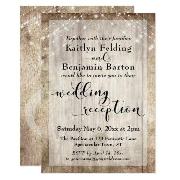 pale rustic wood and lights wedding reception only invitations