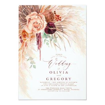 Small Pampas Grass Floral Burgundy Terracotta Wedding Invitation Front View