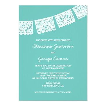 papel picado aqua | wedding invitation