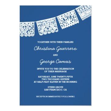 Small Papel Picado Blue | Wedding Invitation Front View