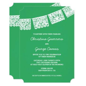 papel picado green | wedding invitation