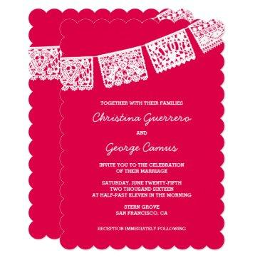 papel picado hot pink | wedding invitation