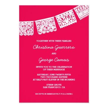 Small Papel Picado Hot Pink | Wedding Invitation Front View