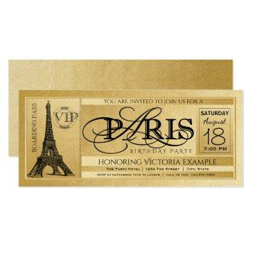 paris birthday party  gold paris ticket
